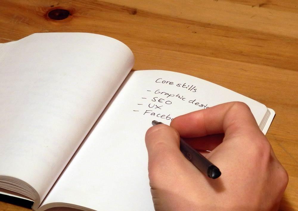 core skills on notepad
