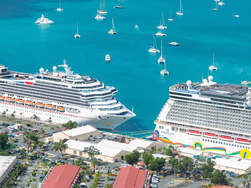 cruise liners at harbor