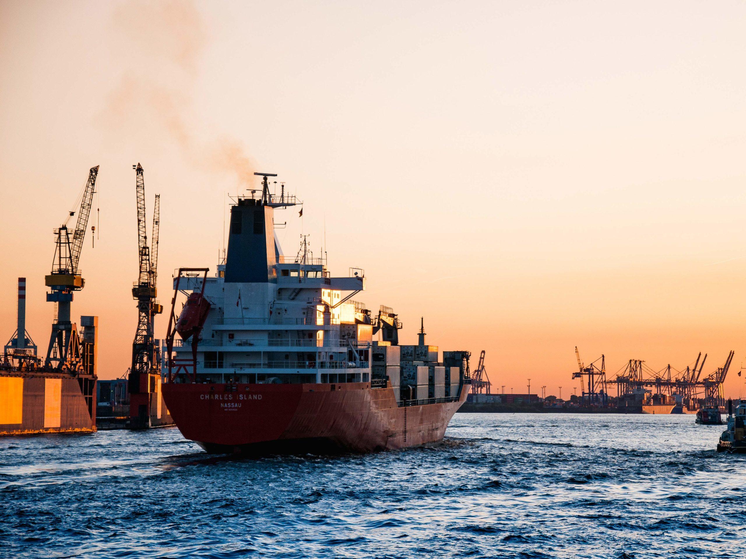 cargo ship entering freeport