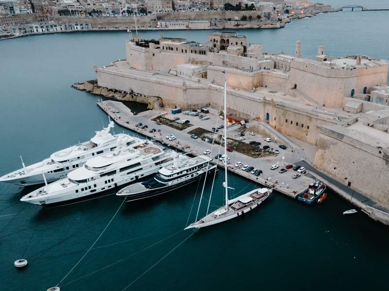 super yacht at maltese port
